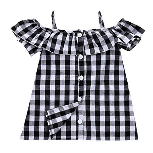Janly Vestido de niña de 0 a 10 años de edad, a cuadros, con volantes, con tiras, vestido de playa, negro,...