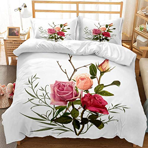YHHAW Duvet Cover Sets,Red pink rose flower branch pattern Print,Soft Microfiber duvet sets pillowcase,3 Pieces (1 Duvet Cover + 2 Pillow cases) Bedding Sets-King 220x240cm