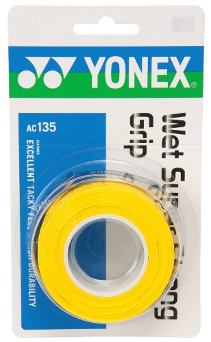 ヨネックス(YONEX) テニス バドミントン グリップテープ ウェットスーパーストロンググリップ (3本入り) AC135 イエロー