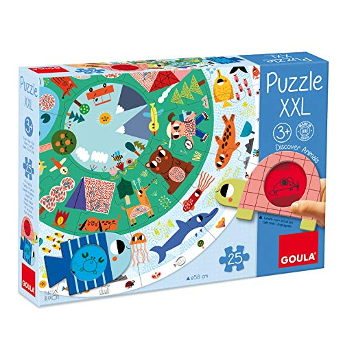 Goula- Puzzle XXL Discover Animals - Puzzle infantil a parti