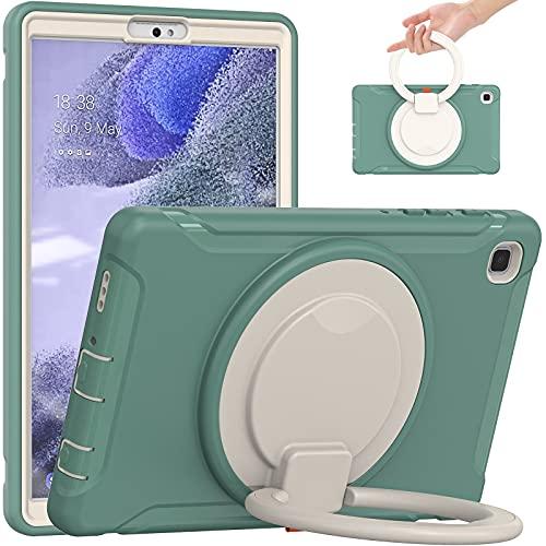 SZCINSEN Funda para Samsung Galaxy Tab A7 Lite 8.7 pulgadas T220 – Mango giratorio a prueba de golpes con soporte para niños, resistente funda protectora para tablet (color verde esmeralda)