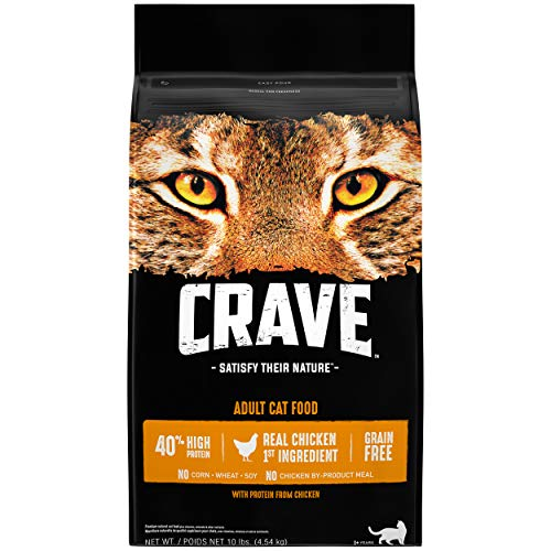 CRAVE Grain Free Adult High Protein Natural Dry Cat Food with Protein from Chicken, 10 lb. Bag