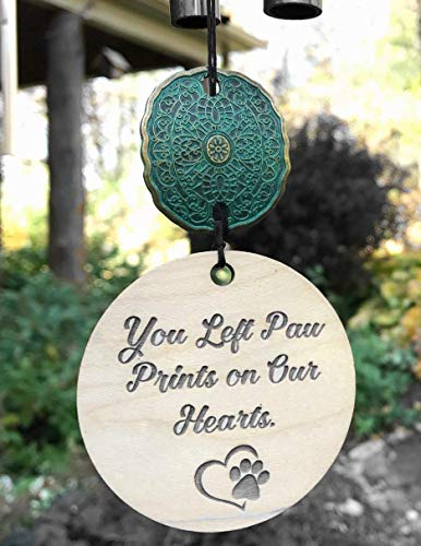 Pet Loss Paw Prints on Our Hearts in Memory of Loss of Dog or Cat Memorial Garden or Porch Remembering Animal After Loss Outdoor Rustic