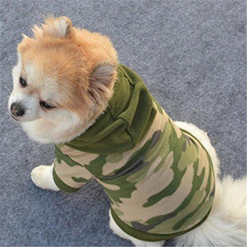 Haustierkleidung,Hund Haustierbekleidung Hoodie Warmes Pullover Welpen-Mantel-Kleid von Sannysis (Tarnung, S)