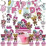 Hilloly 32 Pcs Decoraciones de Cumpleaños,Kit de Decoraciones de Fiesta,Contiene Decoraciones Para Tortas LOL,Pancartas,Encantos en Espiral,Decoración Fiesta Para Cumpleaños Infantil