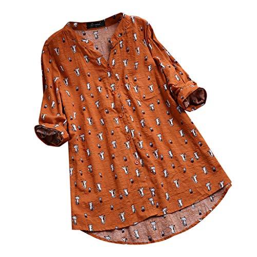 Xmiral Bluse Damen Blumen Gedruckt Langarm/Kurzarm Oberteile T-Shirt Falten Knopf T-Shirt Beiläufig Rundhals Pullover Jumper(b Orange,L)