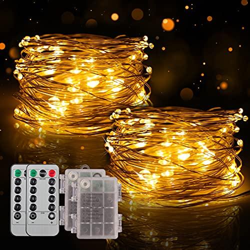 Guirnalda de luces con caja de pilas, 2 unidades, 10 m, 100 LED, 8 modos, con mando a distancia y temporizador, para decoración interior y exterior (blanco cálido), sin batería