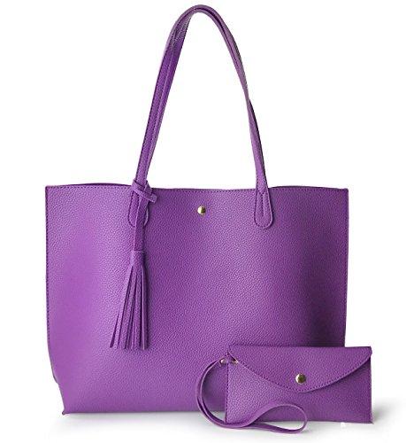 Minimalist Clean Cut Pebbled Faux Leather Tote Womens Shoulder Handbag...