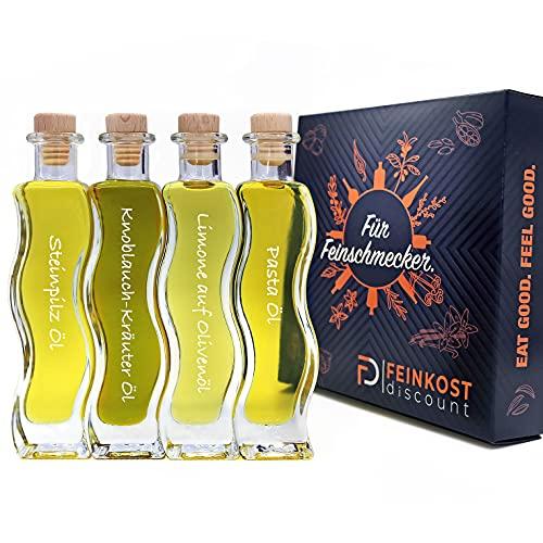 Geschenkset BOX & Probierset | 4 x 100ml Öl | Mann und Frau | Steinpilz Öl - Olivenöl Limone - Knoblauch-Kräuter Öl - Pasta Öl | Feinkost Set
