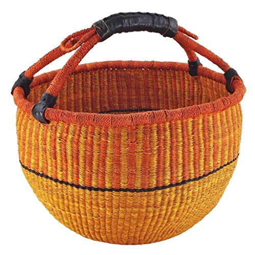 Grote boodschappenmand/ronde mand Ø 40 cm – stapelgras – Bolga Ghana Afrika – fair trade.