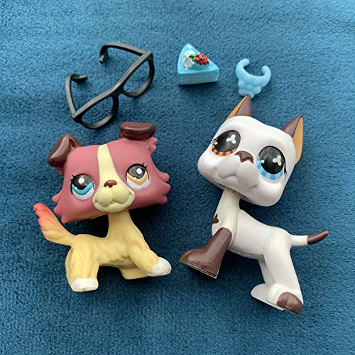 KK lps Collie and Great Dane, 2pcs Rare Figures #577#1262 Different Eyes Dogs with lps Accessories Kids Gift