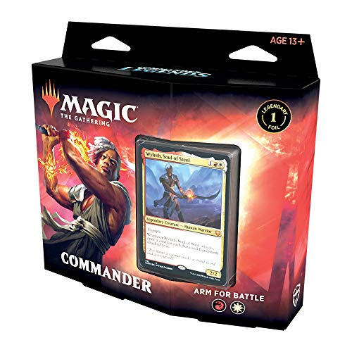 Magic: The Gathering Commander Legends Commander Deck – Arm for Battle | 100 Card Ready-to-Play Deck | 1 Foil Commander | Red-White, C78590000