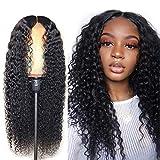 SAHAPA Peruecke Human Hair Wig Lange Haare Wig,Brasilianische Haare Echthaar Perücke Lockig,Natürlicher Haaransatz Kinky Curly Wig für Frauen