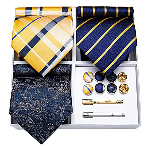 WODMB 3 Paquete Moda Seda Corbata Sólido Amarillo Azul Pink Necktie Conjunto Regalo Para Hombres Boda Corbata Gemelos (Color : Striped, Size : One size)