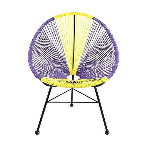 Retro Acapulco Lounge Relax Sessel Rahmen & Füße Pulverbeschichtet Indoor & Outdoor LILA GELB