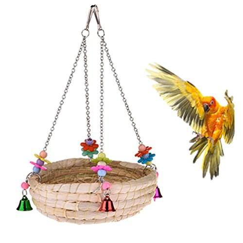 Woven Straw Nest Bed Large Bird Swing Toy with Bell for Parrot Cockatiel Parakeet African Grey Cockatoo Macaw Amazon Conure Budgie Canary Lovebird Finch Hamster Chinchilla Cage Perch