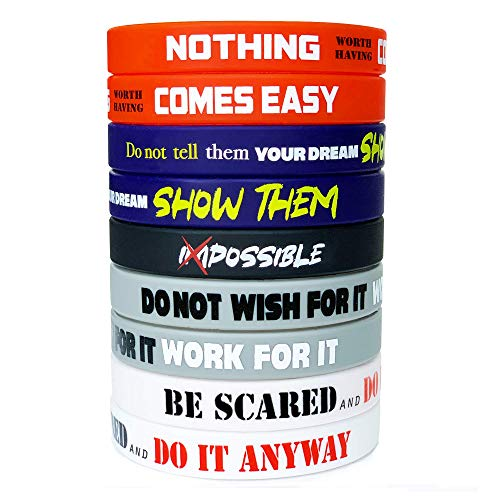 RUANJAI 12-Pack Motivational Wristband Rubber Silicone with Inspirational Messages - Unisex Adult Size Bracelets Women Men Teens