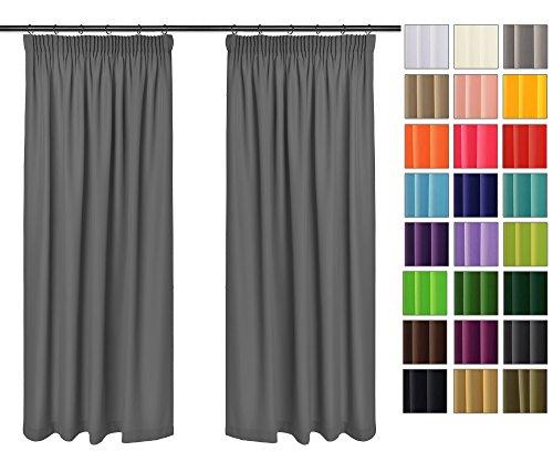 Rollmayer Vorhänge mit Bleistift Kollektion Vivid (Grafit 33, 135x150 cm - BxH) Blickdicht Uni einfarbig Gardinen Schal für Schlafzimmer Kinderzimmer Wohnzimmer