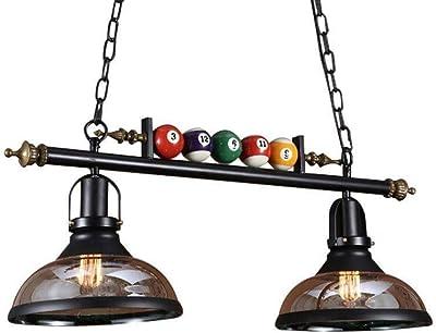 RDYL Lámpara de Techo de Billar Creativa, lámpara de araña Industrial, lámpara de araña Retro, Pantalla de Vidrio, Altura Ajustable, Utilizada en Sala de Billar, Restaurante, cafetería, Bar E27,2h: Amazon.es: Hogar