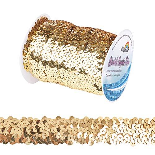 OLYCRAFT 10m 25mm Ribete Elástico de Lentejuelas Ribeteado Metálico con Ribete de Lentejuelas 3 hileras de Tela Paillette Ribete de Cinta para Adornar el Vestido Y Diadema - Dorado