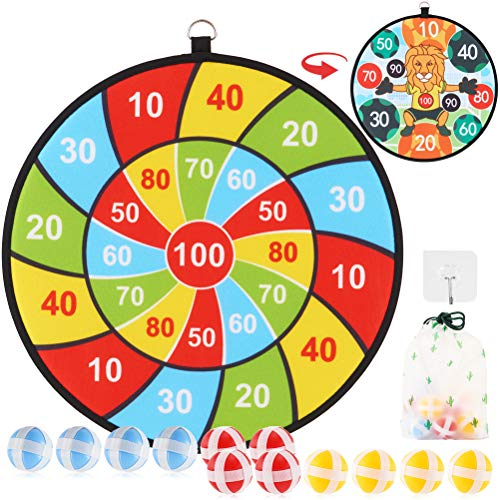 Kids Dart Board Games with 12 Sticky Balls, Safe Classic Darts Board Set, Indoor Outdoor Game Toy for Boys Girls -13.5 Inches