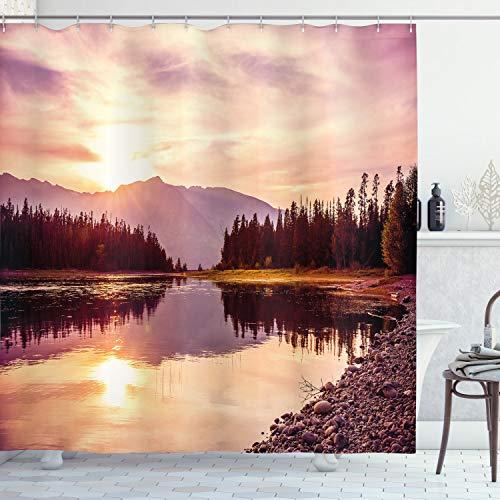 ABAKUHAUS Landschaft Duschvorhang, Jackson Lake in USA, Digital auf Stoff Bedruckt inkl.12 Haken Farbfest Wasser Bakterie Resistent, 175 x 180 cm, Pfirsich Hellgelb