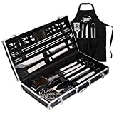 Deluxe Grill Set, Grill Accessories, 21 Piece Grilling Set, Heavy Duty Stainless Steel BBQ Tools...