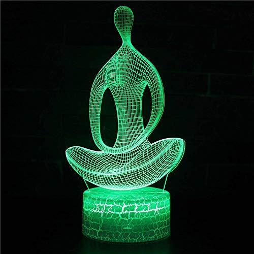 Posturas de yoga-Luz de noche 3D LED lámpara de ilusión Luz de Noche para Niños 7 Colores Cambian Niña Adulto Dormitorio Alimentación USB-Touch+Remote