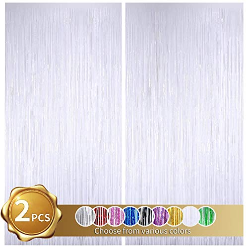 BEISHIDA 2 Pack Foil Fringe Curtain,White Tinsel Metallic Curtains Photo Backdrop for Wedding Engagement Bridal Shower Birthday Bachelorette Party Stage Decor(3.28ft x 6.56 ft)
