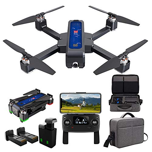 MJX Bugs 4W Foldable Drone with GPS, Full HD 2K 5G WiFi Camera Record Video Bugs GO App Altitude Hold Track Flight 3400mAh Battery Double Charging OLED Screen Remote Control (MJX B4W + Handbag)