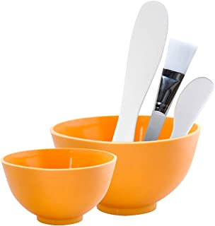 Appearus Facial Mask Rubber Mixing Bowl Set - Spa Face Mask Mixing Tool (Pumpkin Orange)