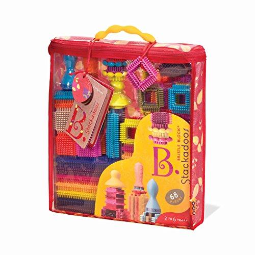 B Toys - Bloques de cerdas Stackadoos - 68 bloques de juguetes en una bolsa de almacenamiento - Sin BPA STEM juguetes bloques de construcción para niños 2 años + , color/modelo surtido