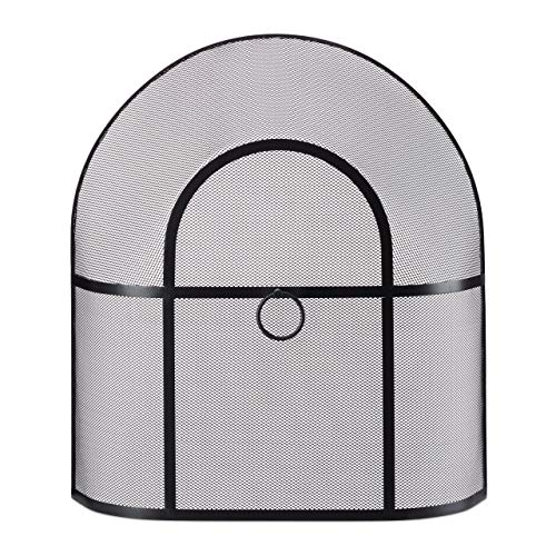 Relaxdays Funkenschutzgitter Kamin, feinmaschig, Stahl, ohne Bohren, Kaminschutzgitter, HxBxT: 62 x 56 x 16 cm, schwarz