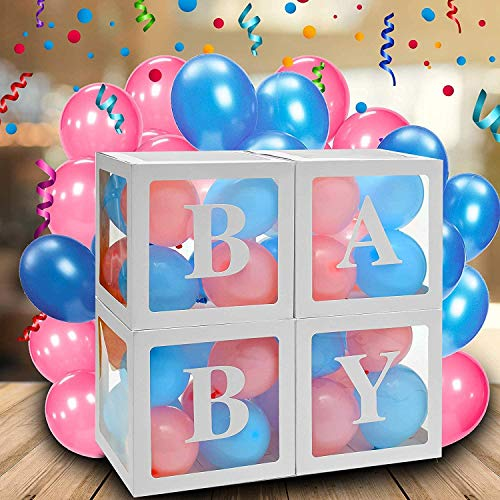 Youngneer 4 Stück Baby Shower Boxen Partydekorationen Transparente Luftballon Baby Box Block Dekoration mit 3 Set 4PCS Baby Letters 30PCS Balloons für Jungen Mädchen Birthday Party Supplies
