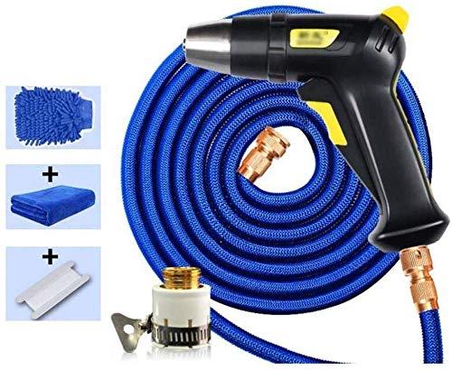 GJNVBDZSF - Pistola de riego con 5 funciones de manguera de agua de pulverización, manguera extensible de agua ligera doble núcleo de látex