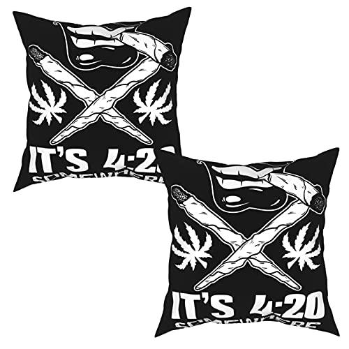 Pack de 2 Fundas de Almohada,Fondo tipográfico de la Cita del Vector sobre la Marihuana con la,Funda de Cojín Cuadrado de Protectora de Almohada para Sofá Cama Decoración del Hogar (50x50cm) x2