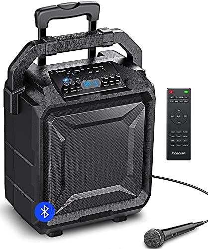 """BOMAKER 500W Sistema de Megafonía y Anuncio con Micrófono, Equipos de karaoke, Woofer de 8"""", 6 EQ Modos, Bluetooth 5.0/ FM Radio/AUX/guitarra/USB/Guitarra, PA Lark 01"""