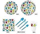 Pack para Fiesta Infantil o cumpleaños con diseño de Monstruos - Set de vajilla de plástico para 12 Personas - 120 Piezas