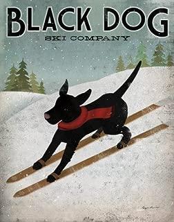 Black Dog Ski Animal Art Poster Print by Ryan Fowler, 22x28