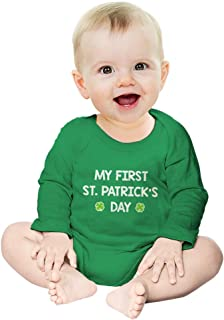 My First St. Patrick's Day - Cute Infant Irish Clover Baby Long Sleeve Bodysuit