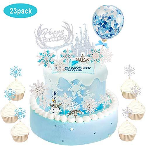 AYUQI Decoraciones de Fiesta de Cumpleaños de Copo de Nieve con DIY Copo de Nieve Primeros de la Torta, Feliz Cumpleaños Pastel de Cumpleaños Princesa Castle Topper Tema de la Fantasía para Fiesta