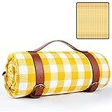 GeeRic Manta de Picnic Impermeable 150x200, Mantas para pícnic Grande Plegable Portátil de 3 Capas, Playa, Senderismo, Camping, Cuadrícula Amarilla