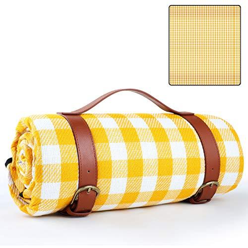 GeeRic Picknickdecke Campingdecke 150 x 200 cm,Stranddecke wärmeisoliert mit Tragegriff,Outdoor Stranddecke wasserdichte Faltbare