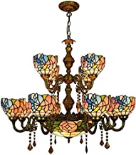 Stained Glass lamp, Chain Hanging Chandelier 12 Heads Chandelier Large Chandelier Blue Hummingbird Colorful Glass Crystal ...