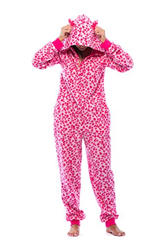 6453-10215-S Just Love Adult Onesie with Animal Prints / Pajamas Pink Leopard