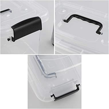 Doryh 5 L Plastic Storage Bin with Lid, Clear Transparent Box With Black Handles Set of 6