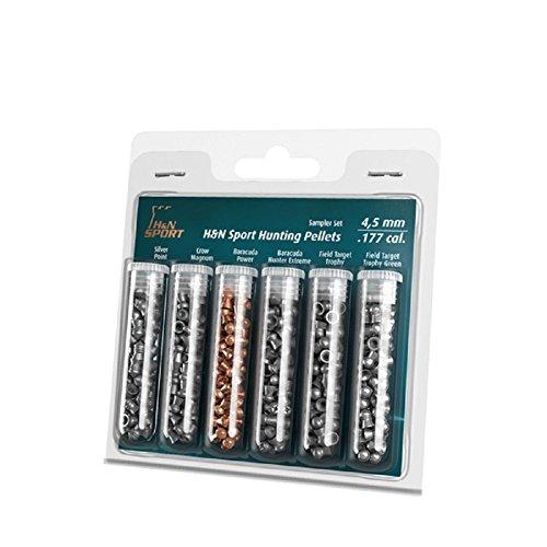 H&N Hunting Sampler, 6 Different Pellets .177 Caliber / Assorted Grains (215 Count)
