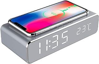 YOOXI Despertador com carregamento sem fio, 2 em 1 HD espelhado, despertador digital com carregador sem fio e termômetro a...