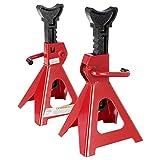 2x Arebos Chandelles à Crémaillère Crics de Levage | 6000 kg | 4 pieds Robustes pour une Stabilité Optimale | Rouge