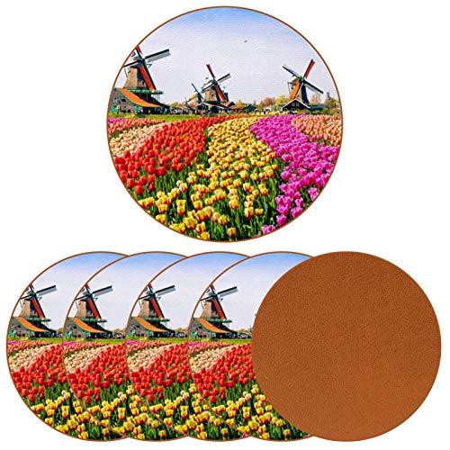 BENNIGIRY Campos de Flores y Molino de Viento Posavasos de Cuero Tapetes Redondos Resistentes al Calor para Tazas Taza de café Tapetes Individuales para Tazas de Vidrio, 6 Piezas